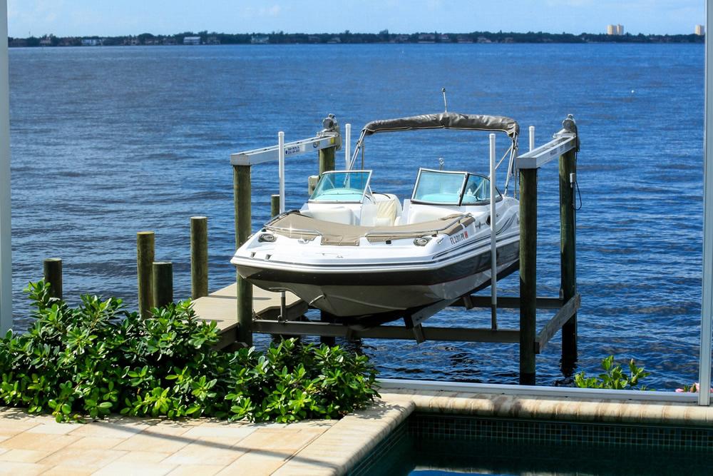 Boat at rear of house